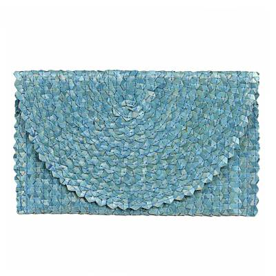 Handwoven Palm Leaf Clutch in Cerulean from Java