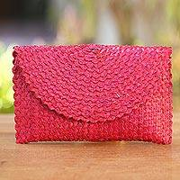 Palm leaf clutch handbag, 'Trance in Ruby Red' - Hand Made Palm Leaf Fiber Clutch Handbag Indonesia