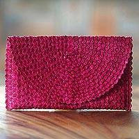 Palm leaf clutch handbag, 'Trance in Magenta' - Handmade Magenta Lontar Leaf Clutch Handbag from Indonesia
