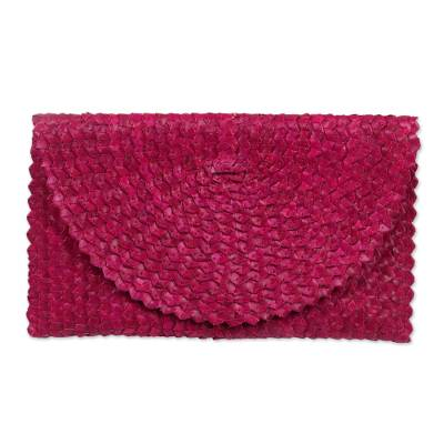 Handmade Magenta Lontar Leaf Clutch Handbag from Indonesia