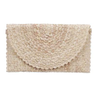 Palm leaf clutch handbag, 'Trance in Ivory' - Handmade Ivory Palm Leaf Clutch Handbag from Indonesia