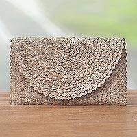 Palm leaf clutch handbag, 'Trance in Brown' - Handmade Brown Palm Leaf Clutch Handbag from Indonesia