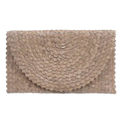 Handmade Brown Palm Leaf Clutch Handbag from Indonesia