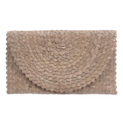 Novica Palm leaf clutch handbag, Trance in Brown