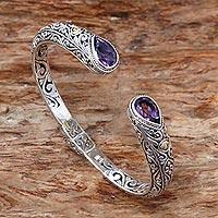 Gold accented amethyst cuff bracelet, 'Fern Canopy' - Amethyst Sterling Silver Gold Accent Cuff Bracelet Indonesia
