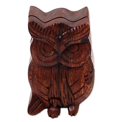 Wood puzzle box, 'Serious Owl' - Hand Carved Wood Puzzle Box Owl Shape from Indonesia