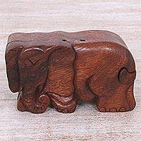 Wood puzzle box, 'Staring Elephant' - Hand Carved Wood Puzzle Box Elephant Shape from Indonesia