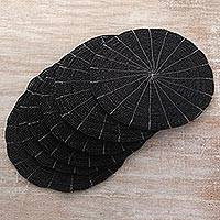 Pandan leaf placemats, 'Tabletop Companions in Black' (set of 6) - Hand Made Black Placemats (Set of 6) from Indonesia