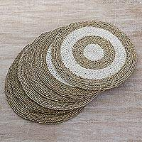 Pandan leaf placemats, 'Tabletop Bullseye' (set of 6) - Pandan Leaf Woven Placemats (Set of 6) from Indonesia