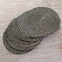 Pandan leaf placemats, 'Tabletop Spirals in Black' (set of 6) - Hand Made Spiral Placemats (Set of 6) from Indonesia