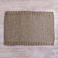 Pandan leaf area rug, 'Comfort Offering' - Hand Woven Pandan Leaf 3x4 Area Rug from Indonesia