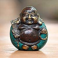 Bronze sculpture, 'Welcoming Buddha' - Bronze Sculpture of Sitting Buddha from Indonesia