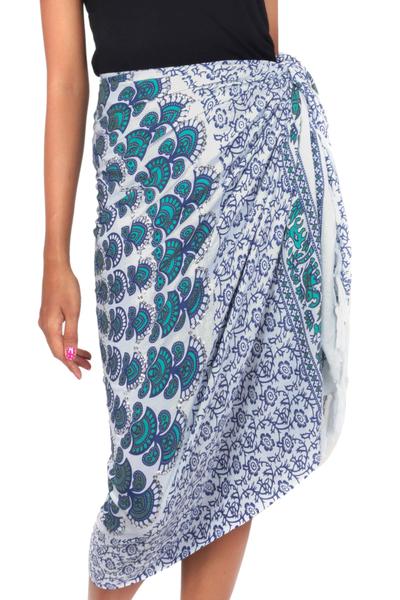 Batik Rayon Sarong in Aqua Blue from Indonesia