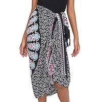 Rayon sarong, 'Bright Night' - Deer and Elephant Floral Pattern Sequined Rayon Sarong