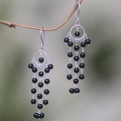 Onyx chandelier earrings, 'Dangling Hope' - Artisan Crafted Onyx and Sterling Silver Chandelier Earrings