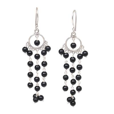 Artisan Crafted Onyx and Sterling Silver Chandelier Earrings