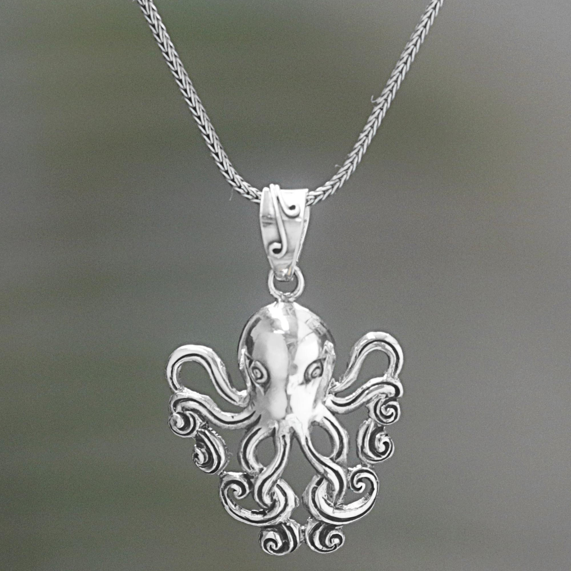 pendant diamond citrine gold octopus