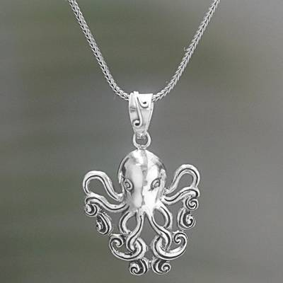 Sterling silver pendant necklace, Octopus of the Deep