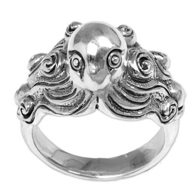 Sterling silver cocktail ring, 'Octopus of the Deep' - Sterling Silver Cocktail Ring Octopus from Indonesia
