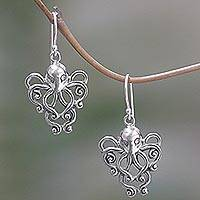 Sterling silver dangle earrings, 'Octopus of the Deep'