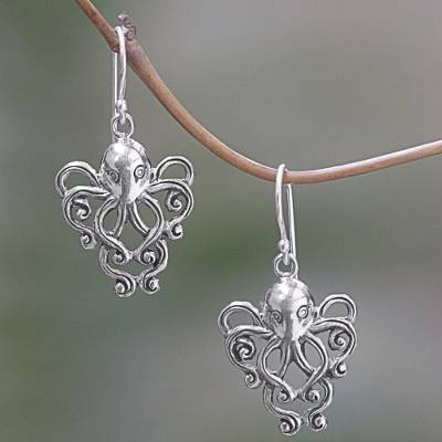 Sterling silver dangle earrings, 'Octopus of the Deep' - Sterling Silver Dangle Earrings Octopus from Indonesia