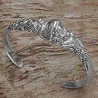 Sterling silver cuff bracelet, 'Octopus of the Deep'