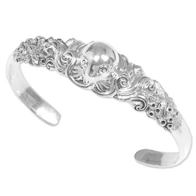 Sterling silver cuff bracelet, 'Octopus of the Deep' - Sterling Silver Cuff Bracelet of an Octopus from Indonesia