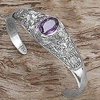 Amethyst cuff bracelet, 'Amethyst Tigers' - Sterling Silver Amethyst Cuff Bracelet Wild Cat Indonesia