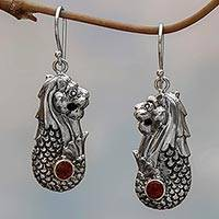 Garnet dangle earrings, 'Red Lion Fish' - Sterling Silver Garnet Merlion Dangle Earrings