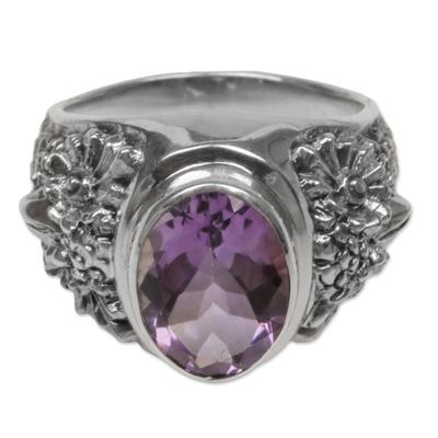 Amethyst single-stone ring, 'Worried Owl' - Sterling Silver Amethyst Single Stone Ring from Indonesia