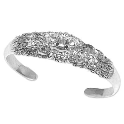 Sterling silver cuff bracelet, 'Widow Rangda' - Sterling Silver Cuff Bracelet from Indonesia