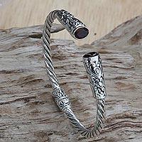 Garnet cuff bracelet, 'Refined Red'