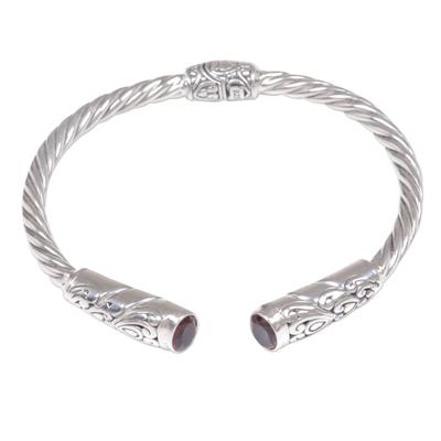 Garnet cuff bracelet, 'Refined Red' - Red Garnet Sterling Silver Cuff Bracelet Floral Rope Pattern