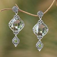 Prasiolite and peridot dangle earrings, 'Borobudur Glimmer' - Silver 925 Prasiolite and Peridot Dangle Earrings from Bali