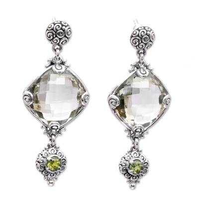 Silver 925 Prasiolite and Peridot Dangle Earrings from Bali