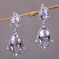 Amethyst dangle earrings, 'Magnolia Curls' - Faceted Amethyst and Silver Dangle Earrings from Bali