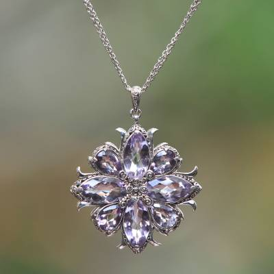 Amethyst pendant necklace, 'Buddha Blessing' - Faceted 36 Carat Amethyst Pendant Necklace from Bali