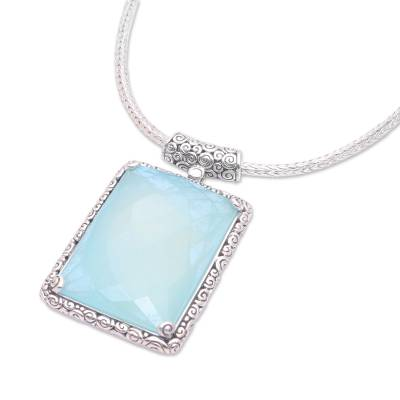 Chalcedony pendant necklace, 'Majestic Meadow' - Chalcedony Rectangular Pendant Necklace from Indonesia