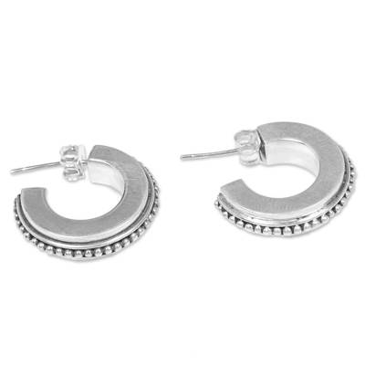 Sterling silver half-hoop earrings, 'Dotted Horseshoes' - Sterling Silver Semicircle Half-Hoop Earrings from Indonesia