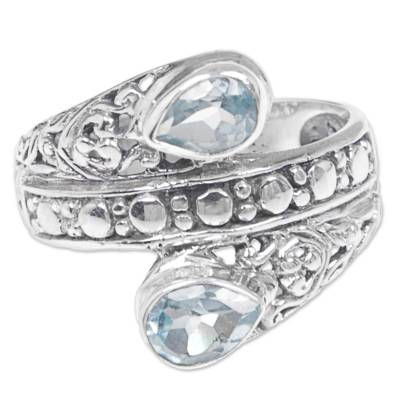Blue topaz cocktail ring, 'Blue Udeng' - Blue Topaz Multi-Stone Cocktail Ring from Indonesia