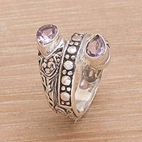 Amethyst multi-stone cocktail ring, 'Purple Udeng' - Amethyst Multi-Stone Cocktail Ring from Indonesia