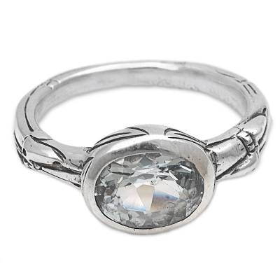 Blue Topaz Single Stone Ring from Indonesia