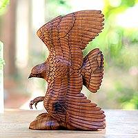 Wood sculpture, 'Flying Brown Eagle '