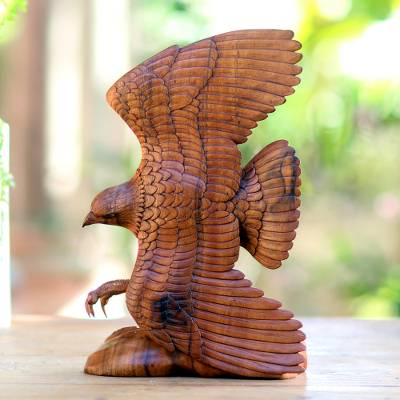 Wood sculpture, 'Flying Brown Eagle ' - Hand Carved Realistic Wood Eagle Sculpture from Bali