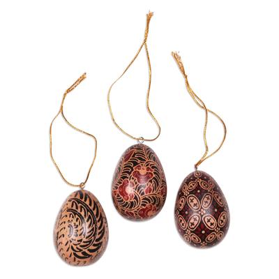 Batik wood ornaments, 'Kawung Eggs' (set of 3) - Hand Made Batik Wood Ornaments (Set of 3) from Indonesia