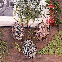 Batik wood ornaments, 'Parang Eggs' (set of 3) - Batik Wood Egg Ornaments (Set of 3) from Indonesia
