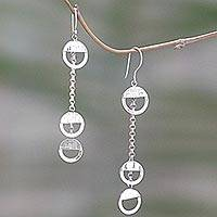 Sterling silver dangle earrings, 'Three Half Circles' - Sterling Silver Dangle Earrings Circular Shape Indonesia