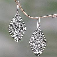 Sterling silver dangle earrings, 'Awakened Leaves' - Sterling Silver Dangle Earrings Openwork Leaf from Indonesia
