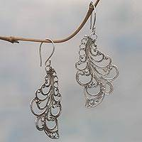 Sterling silver dangle earrings, 'New Leaves' - Sterling Silver Dangle Earrings Openwork Spiral Indonesia