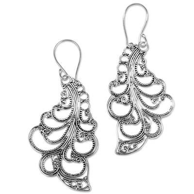 Sterling silver dangle earrings, 'New Leaves' - Sterling Silver Dangle Earrings Openwork Spiral Indonesia
